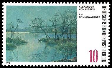 10 Pf Briefmarke: Gemälde - Berliner Seen