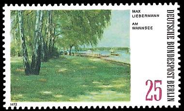 25 Pf Briefmarke: Gemälde - Berliner Seen