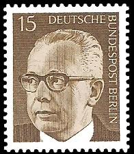 15 Pf Briefmarke: Bundespräsident Gustav Heinemann