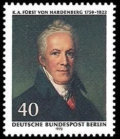 40 Pf Briefmarke: 150. Todestag von Karl August von Hardenberg