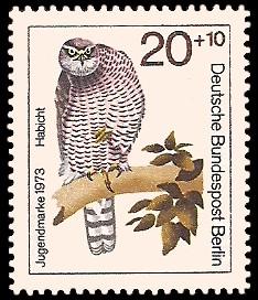 20 + 10 Pf Briefmarke: Jugendmarke 1973, Greifvögel