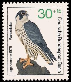30 + 15 Pf Briefmarke: Jugendmarke 1973, Greifvögel