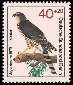 40 + 20 Pf Briefmarke: Jugendmarke 1973, Greifvögel