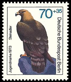 70 + 35 Pf Briefmarke: Jugendmarke 1973, Greifvögel