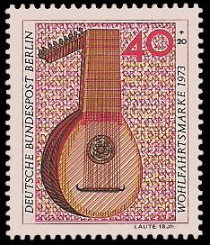 40 + 20 Pf Briefmarke: Wohlfahrtsmarke 1973, Musikinstrumente