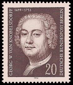 20 Pf Briefmarke: 275. Geburtstag Georg W. von Knobelsdorff