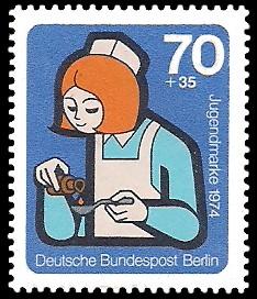 70 + 35 Pf Briefmarke: Jugendmarke 1974