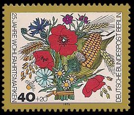 40 + 20 Pf Briefmarke: 25 Jahre Wohlfahrtsmarken, Blumen