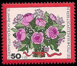 50 + 25 Pf Briefmarke: 25 Jahre Wohlfahrtsmarken, Blumen