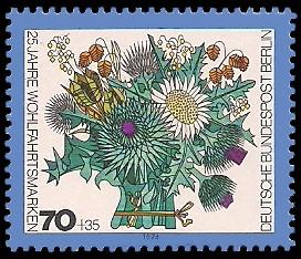 70 + 35 Pf Briefmarke: 25 Jahre Wohlfahrtsmarken, Blumen