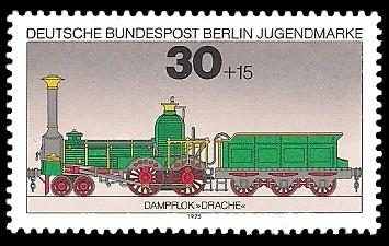 30 + 15 Pf Briefmarke: Jugendmarke 1975, Lokomotiven