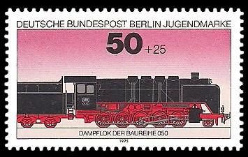 50 + 25 Pf Briefmarke: Jugendmarke 1975, Lokomotiven