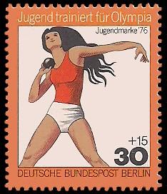 30 + 15 Pf Briefmarke: Jugendmarke 1976, Jugend trainiert für Olympia