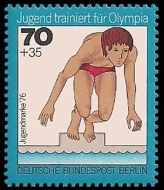 70 + 35 Pf Briefmarke: Jugendmarke 1976, Jugend trainiert für Olympia
