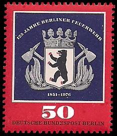 50 Pf Briefmarke: 125 Jahre Berliner Feuerwehr