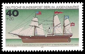 40 + 20 Pf Briefmarke: Jugendmarke 1977, Schiffe