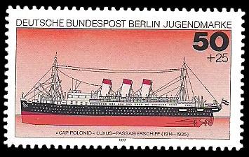 50 + 25 Pf Briefmarke: Jugendmarke 1977, Schiffe