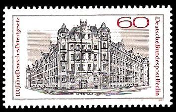 60 Pf Briefmarke: 100 Jahre Deutsches Patentgesetz