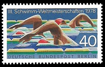 40 Pf Briefmarke: 3. Schwimmweltmeisterschaften