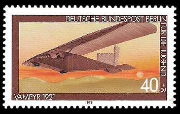 40 + 20 Pf Briefmarke: Für die Jugend 1979, Luftfahrtgeschichte