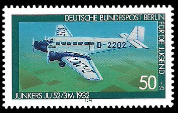 50 + 25 Pf Briefmarke: Für die Jugend 1979, Luftfahrtgeschichte