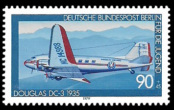 90 + 45 Pf Briefmarke: Für die Jugend 1979, Luftfahrtgeschichte
