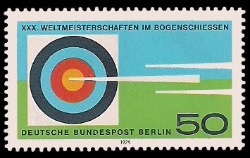 50 Pf Briefmarke: XXX. Weltmeisterschaften im Bogenschiessen