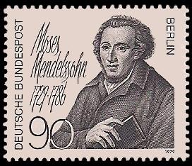 90 Pf Briefmarke: 200. Geburtstag Moses Mendelssohn