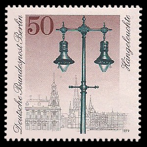 50 Pf Briefmarke: Historische Straßenlaternen Berlins