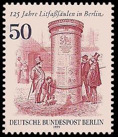 50 Pf Briefmarke: 125 Jahre Litfaßsäulen