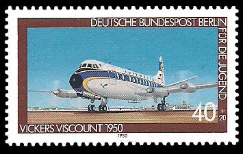 40 + 20 Pf Briefmarke: Für die Jugend 1980, Luftfahrtgeschichte