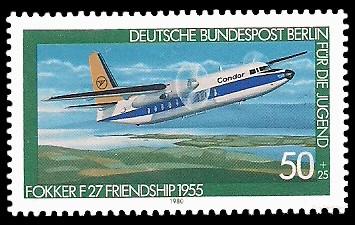 50 + 25 Pf Briefmarke: Für die Jugend 1980, Luftfahrtgeschichte
