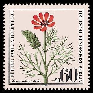 60 + 30 Pf Briefmarke: Wohlfahrtsmarke 1980, Ackerwildkräuter