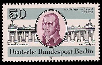 50 Pf Briefmarke: 250. Geburtstag Karl Philipp von Gontard