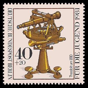40 + 20 Pf Briefmarke: Für die Jugend 1981, optische Instrumente