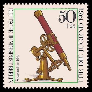 50 + 25 Pf Briefmarke: Für die Jugend 1981, optische Instrumente
