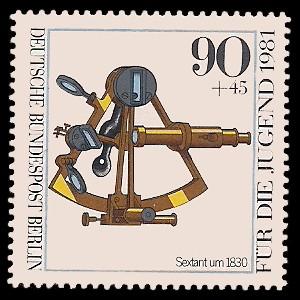 90 + 45 Pf Briefmarke: Für die Jugend 1981, optische Instrumente