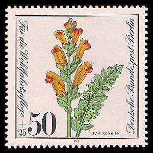 50 + 25 Pf Briefmarke: Wohlfahrtsmarke 1981, gefährdete Wasserpflanzen