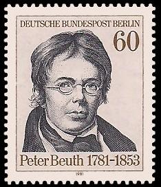 60 Pf Briefmarke: 200. Geburtstag Peter Beuth