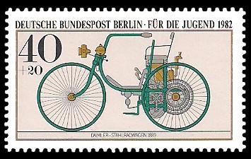 40 + 20 Pf Briefmarke: Für die Jugend 1982, alte Kraftfahrzeuge