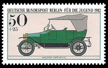 50 + 25 Pf Briefmarke: Für die Jugend 1982, alte Kraftfahrzeuge