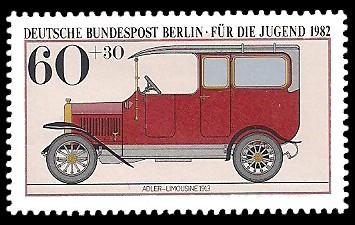60 + 30 Pf Briefmarke: Für die Jugend 1982, alte Kraftfahrzeuge