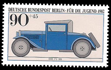 90 + 45 Pf Briefmarke: Für die Jugend 1982, alte Kraftfahrzeuge