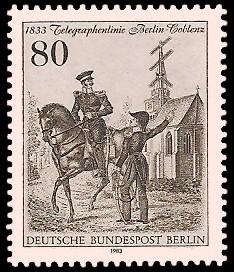 80 Pf Briefmarke: Telegrafenlinie Berlin-Coblenz