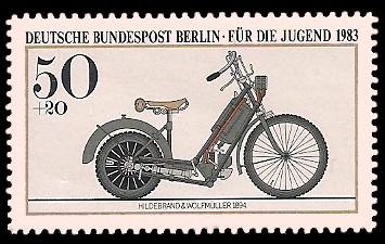 50 + 20 Pf Briefmarke: Für die Jugend 1983, alte Motorräder