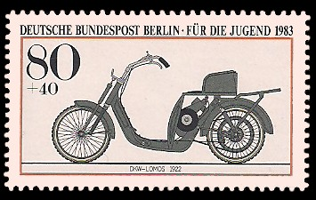 80 + 40 Pf Briefmarke: Für die Jugend 1983, alte Motorräder