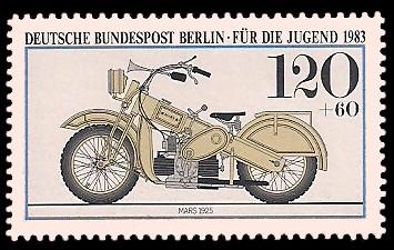 120 + 60 Pf Briefmarke: Für die Jugend 1983, alte Motorräder