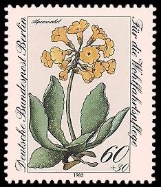60 + 30 Pf Briefmarke: Wohlfahrtsmarke 1983, Alpenblumen