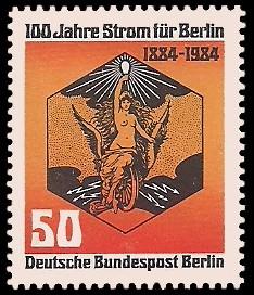 50 Pf Briefmarke: 100 Jahre Strom für Berlin