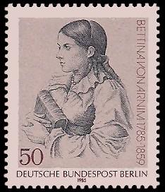 50 Pf Briefmarke: 200. Geburtstag Bettina von Arnim